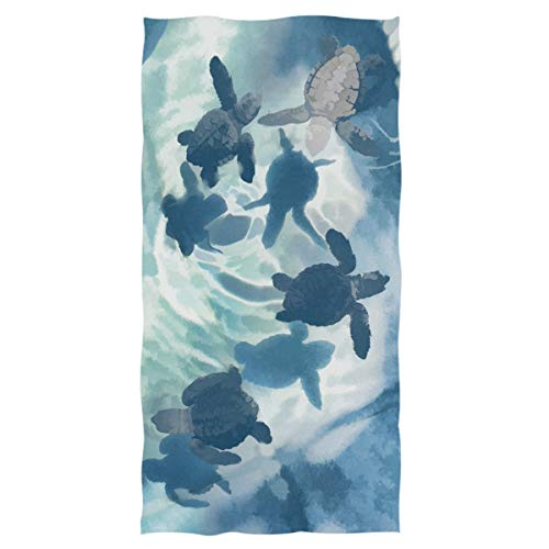 Pfrewn Turtles Underwater Hand Towels 16x30 in, Ocean Sea Turtle Animal Swimming Thin Bathroom Towel, Ultra Soft Highly Absorbent Small Bath Towel Bathroom Decor (Ocean Theme Towel Set)