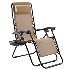 Terradise Reclining Sun Lounger Chairs With Two Cup Holders