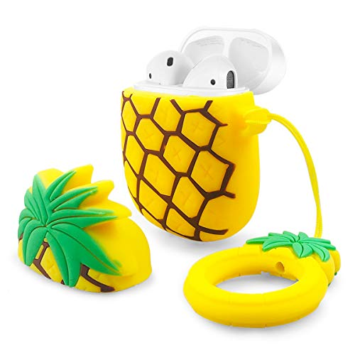 YDY Airpods Case AirPods Accessories Shockproof Portable & Protective Silicone Cover and Skin with Carabiner for Apple Airpods Charging Case - Pineapple (Pineapple)