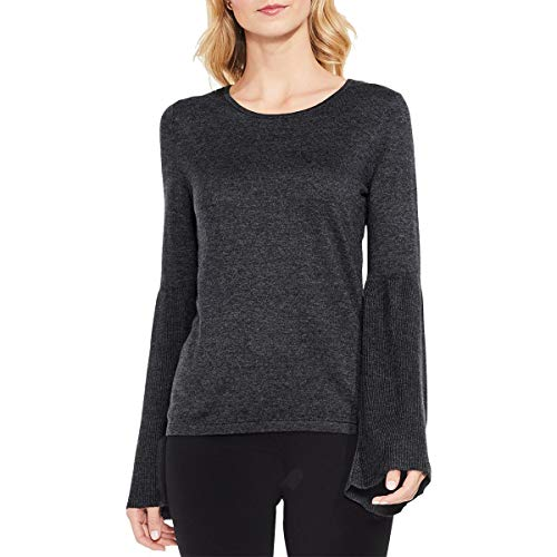 Vince Camuto Womens Ribbed Bell Sleeve Crew Neck Sweater Medium Heather Grey LG One Size