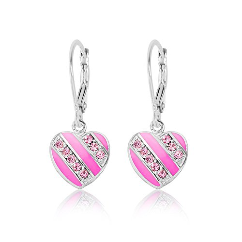 Kids Earrings - 925 Sterling Silver with a White Gold Tone Pink Enamel Striped Leverback Earrings MADE WITH SWAROVSKI ELEMENTS Kids, Children, Girls, Baby (Childrens Heart Earrings Leverback)