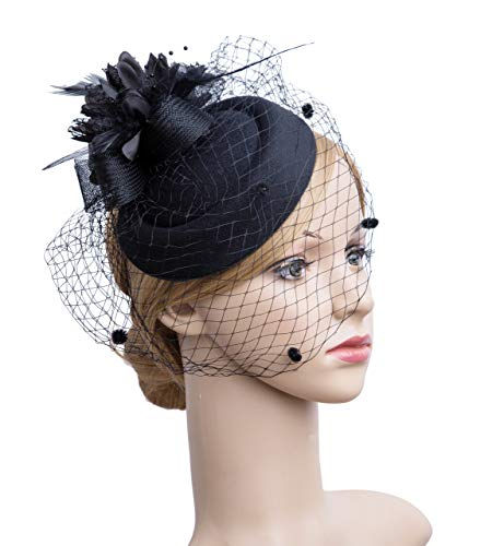Cizoe Fascinator Hair Clip Pillbox Hat Bowler Feather Flower Veil Wedding Party Hat Tea Hat(12-Black1) ()