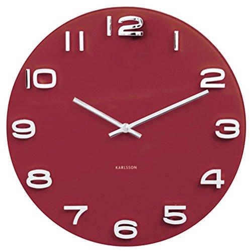 Karlsson 13.8″ Glass Wall Clock, Burgandy