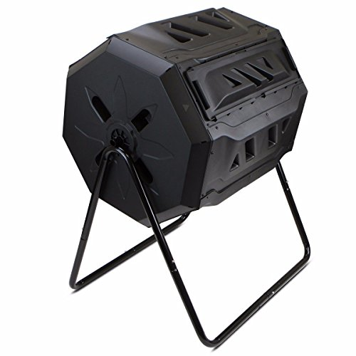 (KCHEX>Composter Tumbler Yard Garden Waste Bin Grass Food Trash Fertilizer Lawn Leaves>Made from Durable, UV. Resistant Plastic with Recycled Content and Includes a Strong Steel Frame, which Will Last)