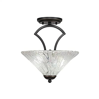 "Toltec Lighting 563-DG-709 Zilo Semi Flush with 2 Bulbs with Italian Ice Glass, 12"", Dark Granite"