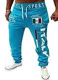 Mens Drawstring Italy Printed Loose Fit Sports Pants Joggers Blue M