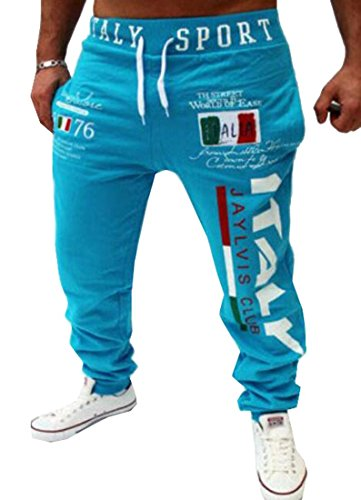 Mens Drawstring Italy Printed Loose Fit Sports Pants Joggers Blue M by Tasatific