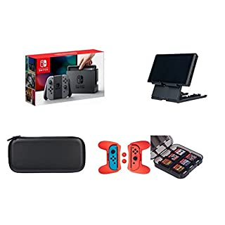 Nintendo Switch - Neon Gray Joy-Con with AmazonBasics Carrying Case,Playstand,Game Storage & Grip Kit