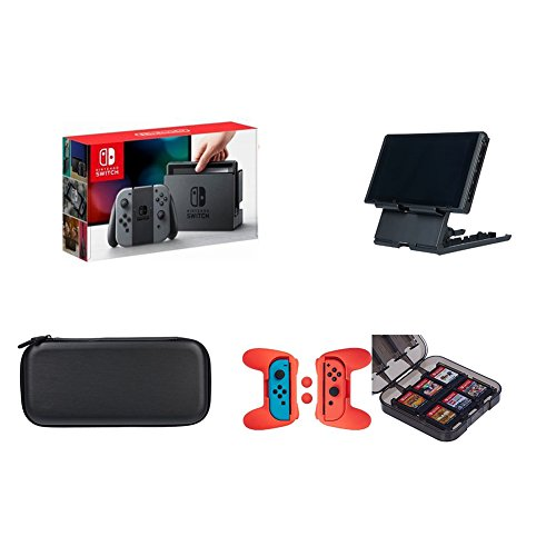 Nintendo Switch - Neon Gray Joy-Con with AmazonBasics Carrying Case,Playstand,Game Storage &...