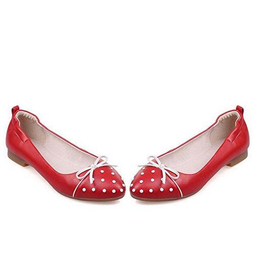 AllhqFashion Damen Rund Zehe Niedriger Absatz Ziehen auf Eingelegt Pumps Schuhe Rot