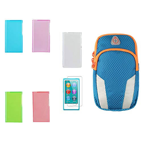Aiboco 5 Color Soft Silicone Protective Case + Sports Armband+ HD Clear Screen Protector for iPod Nano 8th 7th Generation 7 8 7G 8G, Durable Flex Gel Skin (Orange Nano Case Ipod)
