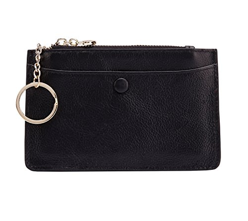 ZORESS Women Leather Mini Coin Purse Card Case With Key Ring Zipper Card Holder Wallet(Black) - Mini Coin Bag