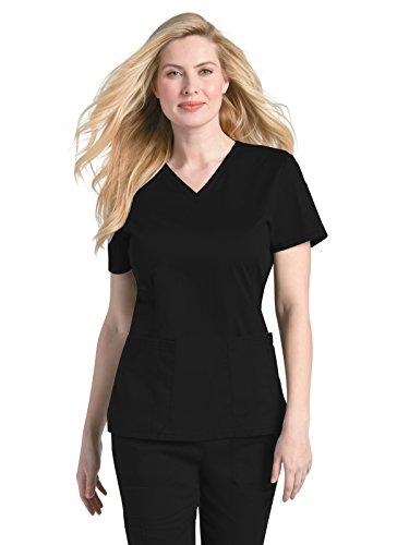 Landau Women's Prewashed V-Neck Two Pocket Scrub TOP, Black, Large - Medical Two Pocket V-neck Top