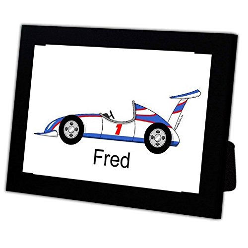 Race Car Driver Frame (Personalized Friendly Folks Cartoon Caricature in a Color Block Frame Gift: Race Car Great for children, room décor, nursery, future racecar driver)