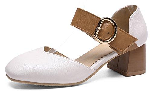 Idifu Mujer's Stylish Square Toe Low Top Chunky Heel Heel Strap Bombas Zapatos Blanco