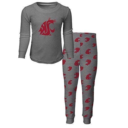 (NCAA by Outerstuff NCAA Washington State Cougars Toddler Long Sleeve Tee & Pant Sleep Set, Heather Grey, 4T)