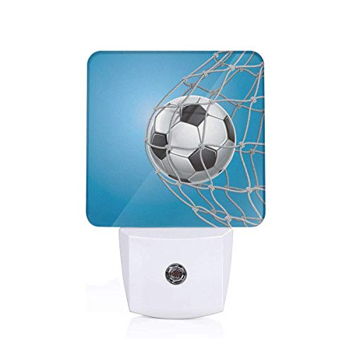 Colorful Plug in Night,Goal Football in Net Entertainment Playing for Winning Active Lifestyle,Auto Sensor LED Dusk to Dawn Night Light Plug in Indoor for Childs Adults ()