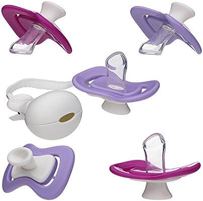 iiamo Combo 5 X Chupetes de Ortodoncia Peace + iiamo String Cadena de Chupete Silicona Sin BPA Recién Nacido, (0-6m) Púrpura