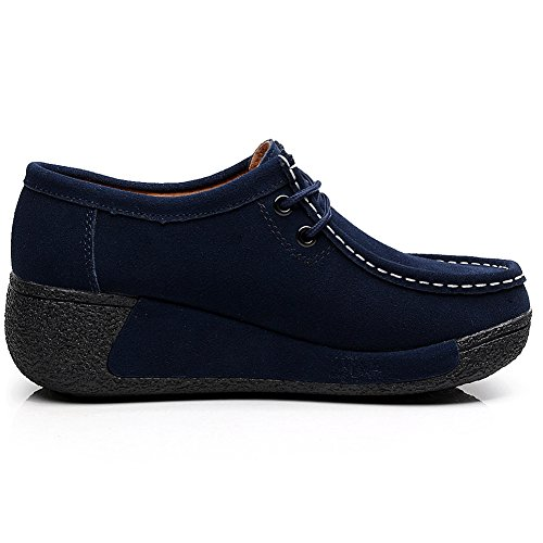 Shenn Donna Tacco A Zeppa Casual Comoda Stringata In Pelle Scamosciata Moda Sneakers Blu Scuro