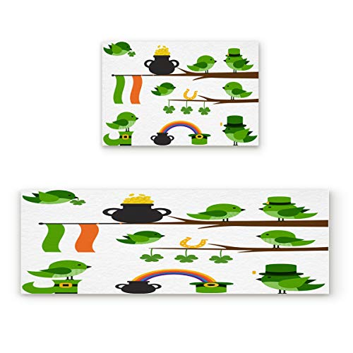 2 Piece Non-Slip Kitchen Mat Rubber Backing Doormat Runner Rug Set,Kids Area Rug Carpet Bedroom Rug Pot of Coins at End of the Rainbow with Clovers Irish Flag Birds Cartoon,23.6x35.4in +23.6x70.9in from Shine-Home
