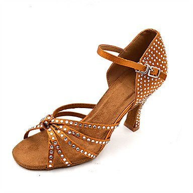 XIAMUO Anpassbare Damen Tanz Schuhe Satin Latin/Jazz/Swing Salsa Schuhe/Sandalen/Fersen angepasste HeelPractice/Anfänger, Khaki, Us5.5/EU36/UK3.5/CN 35