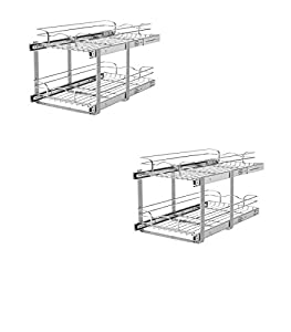 Attrayant 11.75 In W X 22 In D X 19 In H 2 Tier Metal Pull Out Cabinet Basket    Rev A Shelf Model   59 12SC 2 5   Set Of 2 Gift Bundle