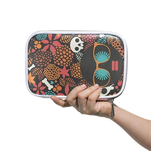 Halloween Skull Large Pencil Case Multifunction Leather Cosmetic Brushes Bag Holder Zip Pouch -