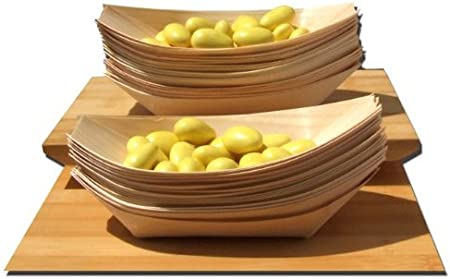 snacks Bamboo Wood Boats MIDI x100 for party foods canap/é 175x85mm nibbles