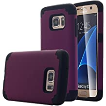 Pandawell SWEET-451 Slim Thin Corner Protection Hybrid Dual Layer Shock Absorbing Impact Resist Case for Samsung Galaxy S7 - Purple/Black