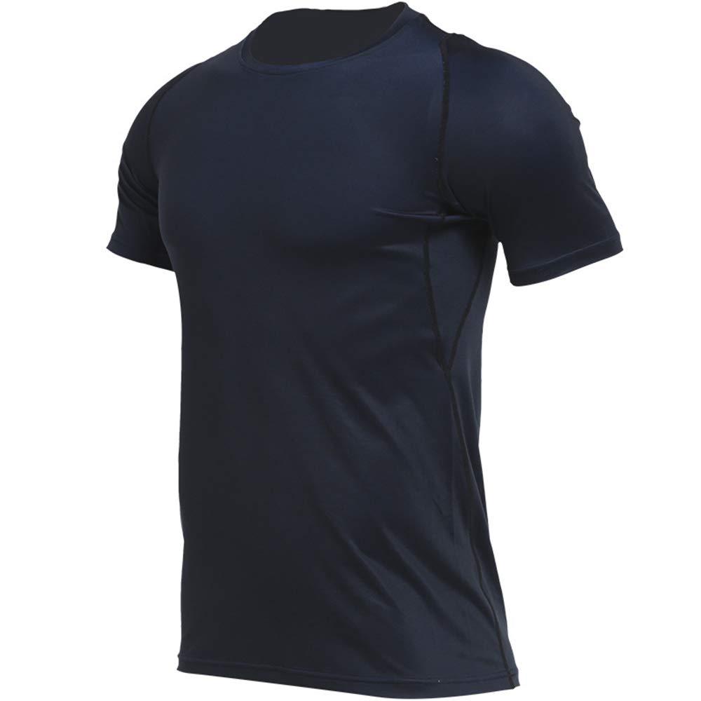 Herren Compression Shirt Tights Herren Herbst und Winter schnell trocknend Laufbekleidung Kurzarm elastische Farbtraining Fitness