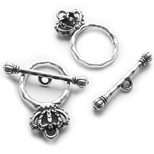 (Heather's cf 38 Pieces Silver Tone Crown Clasp Toggle Findings Jewelry Making 23X15/24X4mm)