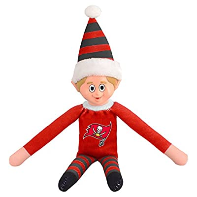 14 Inch NFL Buccaneers Team Elf Football Themed Team Color Logo Mens Collectible Toy Sweatshirt Santa Hat, Man Cave Decoration Christmas Holiday Gift For Fan Red Orange Grey, Polyester