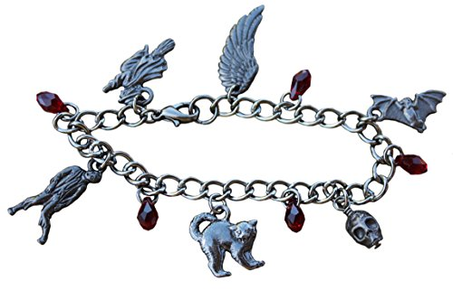 Halloween Horror Bracelet- Black Pewter Charms, Gunmetal Chain, Red Crystal Blood Drops - Size Tiny XS (6.5 inches)