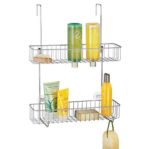 mDesign Extra Wide Metal Wire Over The Bathroom Shower Door Caddy, Hanging Storage Organizer Center with Built-in Hooks and Baskets on 2 Levels for Shampoo, Body Wash, Loofahs - Chrome