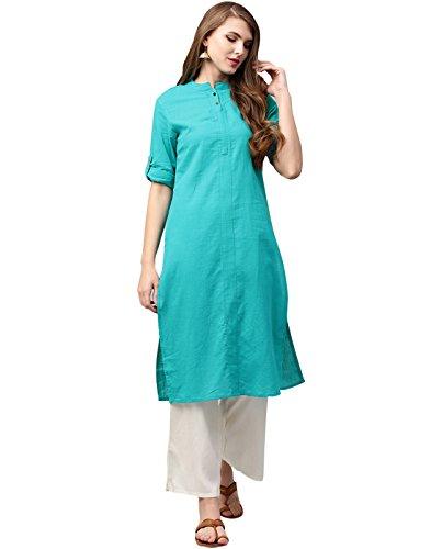 (Jaipur Kurti Women Indian Casual Long Tunic Solid Straight Crepe Kurta & Palazzo (Aqua Green & Off-White))