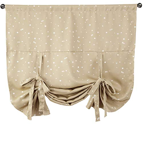 Beige Blackout Valance Curtain for Small Window,Tie Up Shades Thermal Insulated Drapes Panels for Kitchen,Kids Bedroom Living Room,Nursery,Balloon Room Darkening Privacy Curtain,46x63inch Long,Star