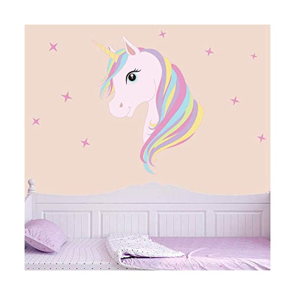 KUYUE Wall Decals Removable Unicorn Wall Stickers for Girls Decorations Bedroom Living Room Playroom Classroom 6