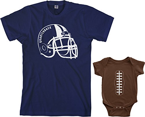 - Threadrock Quarterback & Football Infant Bodysuit & Men's T-Shirt Matching Set (Baby: 6M, Brown|Men's: M, Navy)