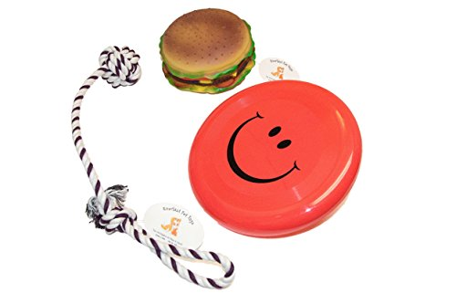 Everlast Pet Toys | Chew & Squeak Bundle for Dogs | Cheeseburger | Knotted Ball Tug Rope | 'Smiley Face' Flying Disc | Guaranteed | For Breeds of All Ages & Sizes