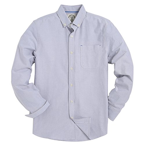 Men's Long Sleeve Shirt Regular Fit Solid Color Oxford Casual Button Down Dress Shirt Gray 2X-Large Button Down Tailored Dress Shirt