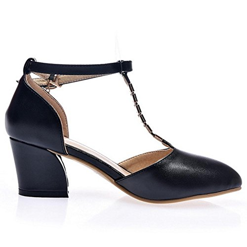 Mujer Sandals Shoes Block TAOFFEN Black Heel SqdCwg