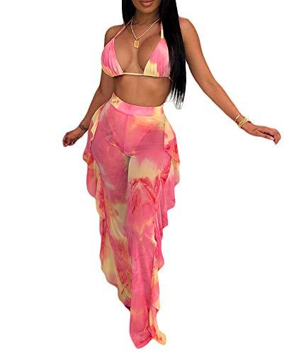 Womens Sexy Halter Sheer Bikini Ruffle Long Pants Set 2 Piece Swimsuit Coverup Pink Size L