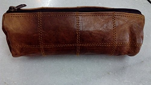 Gbag (T) ''Felix'' Genuine Leather Stationery Pencil Pen Case Art Pouch Office Uni College Smart Everyday Vintage Unisex Brown P6 by Gbag (T) (Image #3)