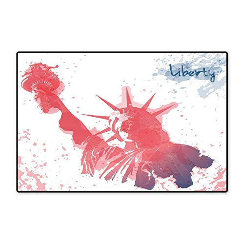- 4th of July Bath Mat Non Slip Watercolor Lady Liberty Silhouette with Paint Splashes Independence Customize Door mats for Home Mat 24
