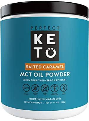 Perfect Keto MCT Oil Powder: Ketosis Supplement (Medium Chain Triglycerides, Coconuts) for Ketone Energy. Paleo Natural Non Dairy Ketogenic Keto Coffee Creamer (Salted Caramel)