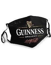 Unisex gezichtsversieringen, verstelbare gezichtsbescherming, mondbescherming met filter, mannen Guinness tocht logo mondschild unisex herbruikbare outdoor stof gezichtsdoek