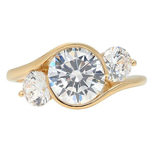(3.6ct Brilliant Three stone Round Cut Designer Statement Solitaire Ring 14k Yellow Gold, 7.75, Clara Pucci)