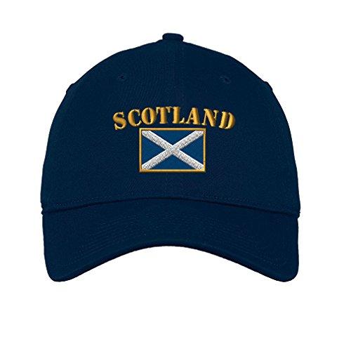 - Scotland Flag Twill Cotton 6 Panel Low Profile Hat Navy