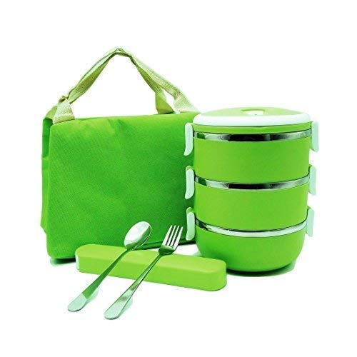Stainless Steel Round Lunch Box, Insulated Lunch Bag, Lock Container Bag, Spoon and Fork Set, Food Storage Boxes for work and school,3-Tier Insulation Storage Boxes with Lunch Box Bag