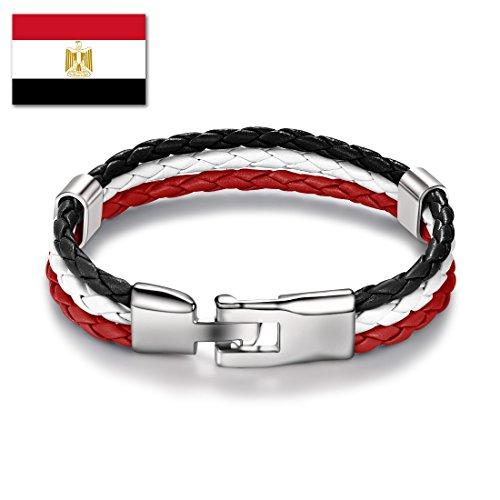 DALARAN Egypt National Flag Leather Bracelet for World Cup Braided Rope Bracelets Bangle Wristband - Egypt Charm Jewelry